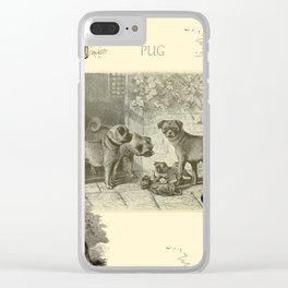 PUG DOGS Illustration Clear iPhone Case