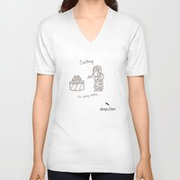 cooking V-neck T-shirts featuring Cooking by Clifford Allen
