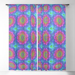 Flower  rainbow-colored Sheer Curtain