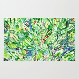 abstract watercolor green leaves Rug