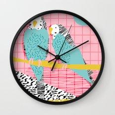 Hottie - throwback retro 1980s 80s style memphis dots bird art neon cool hipster college dorm art Wall Clock