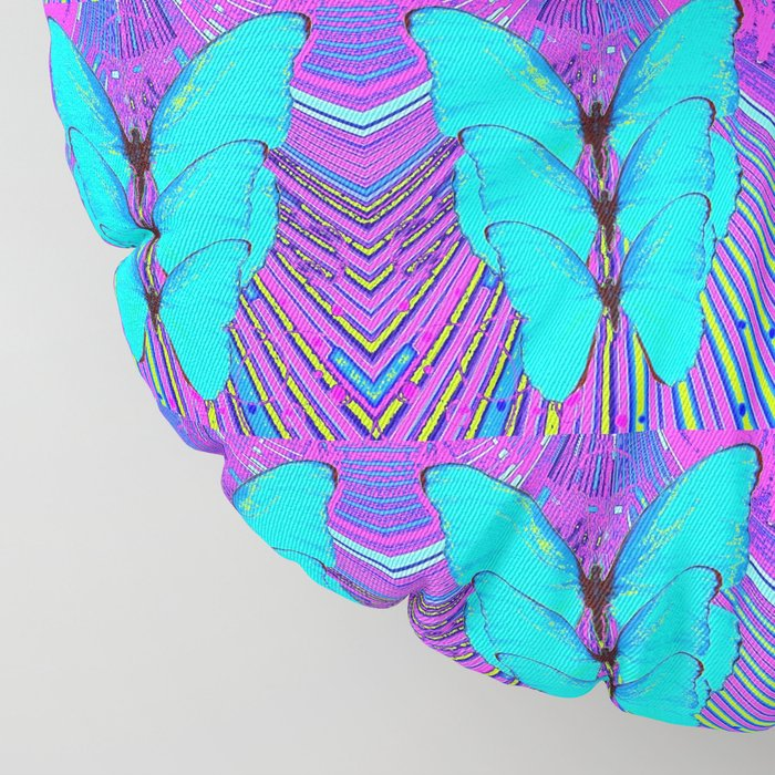 MODERN ART NEON BLUE BUTTERFLIES SURREAL PATTERNS Floor Pillow