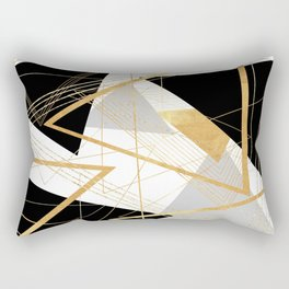 Black and Gold Geometric Rectangular Pillow