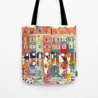 takmaj Tote Bags featuring Evening in Poznań by takmaj