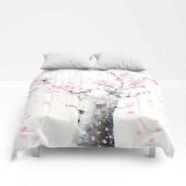Cherry Blossoms And Birds Comforters