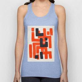 Harsh Mid Century Modern Line Pattern Ancient Aztec Ruins Orange Maze Pattern Black Accent Unisex Tank Top