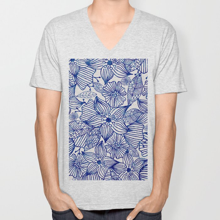 Hand painted royal blue white watercolor floral illustration Unisex V-Neck