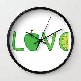 Love nature! Love lettering with green apple and lime. Wall Clock