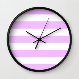 Electric lavender - solid color - white stripes pattern Wall Clock