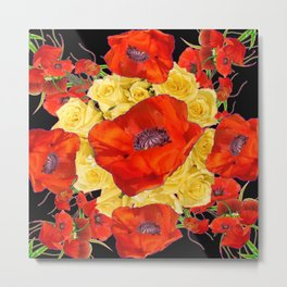 ORANGE POPPIES FLORAL & YELLOW ROSES BLACK ART Metal Print