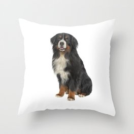 Bernese Mountain Dog. Drawing funny dog Throw Pillow