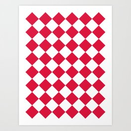 Large Diamonds - White and Crimson Red Art Print