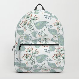 Delicate floral pattern on white. Backpack