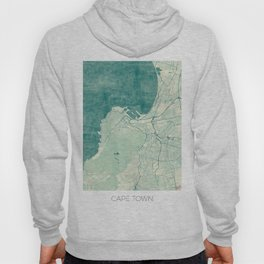 Cape Town Map Blue Vintage Hoody