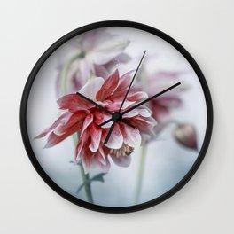 Red columbine flowers Wall Clock