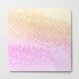 GOLD PINK GLITTER by Monika Strigel Metal Print