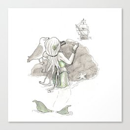 The Little Mermaid is Watching Canvas Print