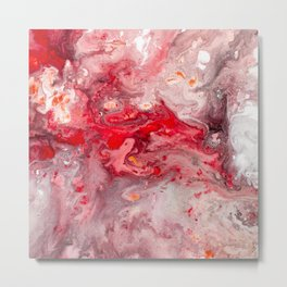 Pink Red Watercolor Abstract Metal Print