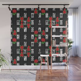 Tarot and Roses - Romantic Major Arcana Pattern Wall Mural