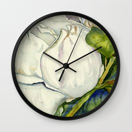 Magnolia with Leaves Wall Clock