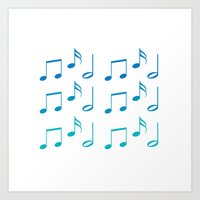 music notes Art Prints featuring Music Notes by magnez2