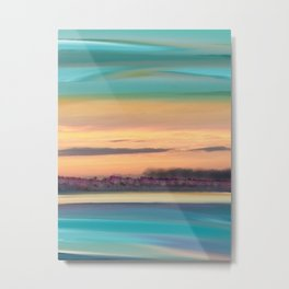 Sunset Glow Seascape with a Tree Lined beach Metal Print