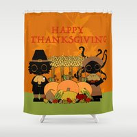thanksgiving Shower Curtains featuring Thanksgiving by BLOOP
