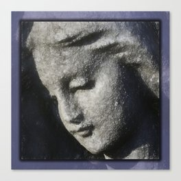 Beautiful angel face grey in clay Canvas Print