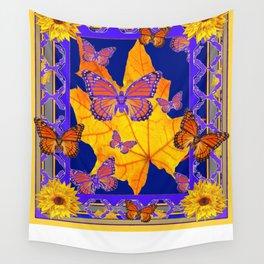 Poetry in  Purple-Gold Monarch Butterflies Lattice Sunflower Patterns Wall Tapestry