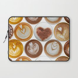 Latte Polka Dots in White Laptop Sleeve