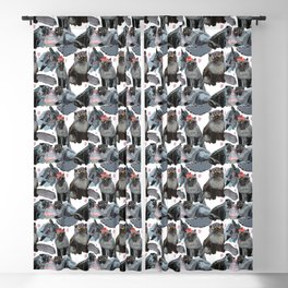 Freddy- Cat pattern white pink and grey Blackout Curtain