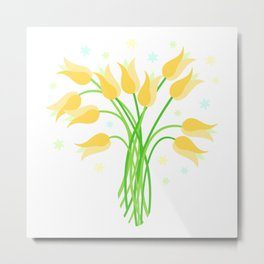 Golden Tulips Metal Print