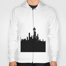Seattle City Skyline in Black and white Hoody