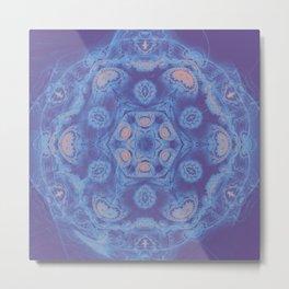 Ultra-violet kaleidoscope mandala with fractal texture Metal Print
