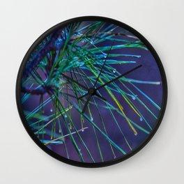 Rain Droplets on Pine Wall Clock