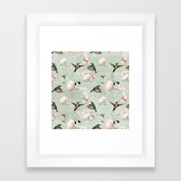 Vintage Watercolor hummingbird and Magnolia Flowers on mint Background Framed Art Print