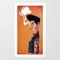 rockabilly Art Prints featuring Rockabilly Boy by quentinschall