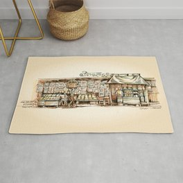 Kolkata India Sketch in Watercolor | City View | Street Newsstand | Calcutta West Bengal Rug