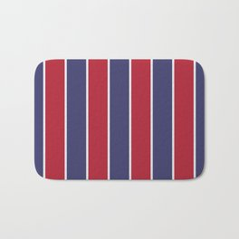 Large Red White and Blue USA Memorial Day Holiday Vertical Cabana Stripes Bath Mat