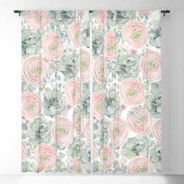 Flowers And Succulents White  #buyart #decor #society6 Blackout Curtain