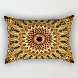 Golden and brown floral mandala Rectangular Pillow