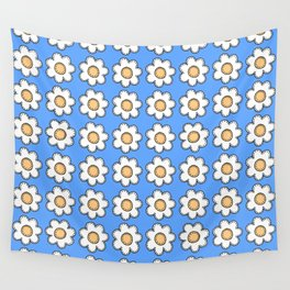 Retro Doodle Mini Flower - Blue and White Wall Tapestry