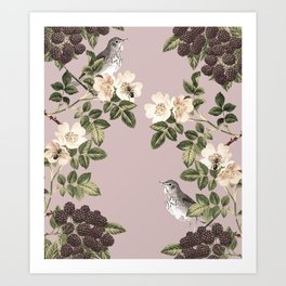 Birds and the Bees Pink Berry Art Print