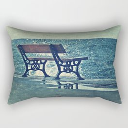 Crashing Into Blue Rectangular Pillow