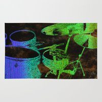 drums Area & Throw Rugs featuring Green Blue Abstract Drums by Tina A Stoffel Arts