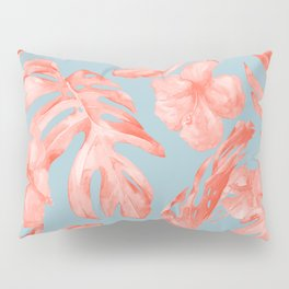 Island Life Coral on Light Blue Pillow Sham