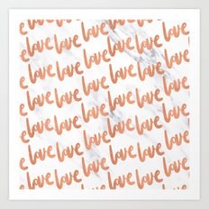 Love Rose Gold Marble Art Print