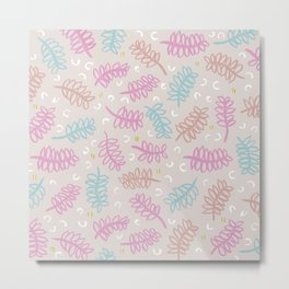 Botanical garden palm leaf pastel spring summer pattern Metal Print