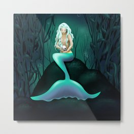 Mermaid Holding Skull Metal Print