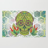 sugar skull Area & Throw Rugs featuring Sugar Skull by Brit Derr